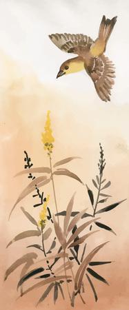 Oiseau volant au-dessus des fleurs sur fond beige Banque d'images - 89224188