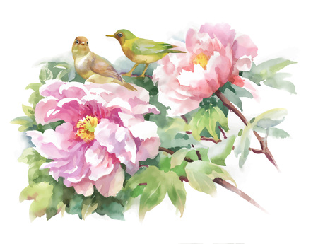 Bright beautiful floral illustration, fairytale flowers and birds on white background. 向量圖像