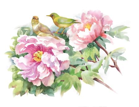 Bright beautiful floral illustration, fairytale flowers and birds on white background. Ilustração