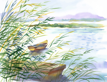 Watercolor illustration of rural landscape with boat. Stock Illustratie