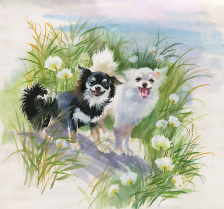Hand drawn dogs on the nature, watercolor illustration.