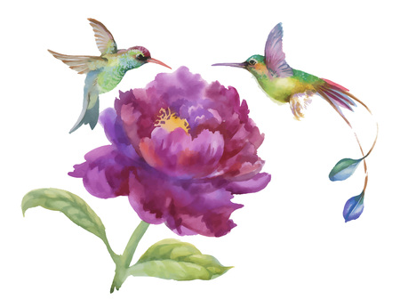 white fabric texture: Watercolor hand drawn colorful beautiful flower and birds. Illustration