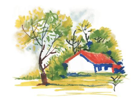 Belle maison de village et des arbres verts pittoresques, aquarelle. Banque d'images - 89225880