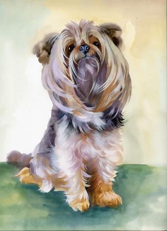 Hand drawn cute Yorkshire terrier dog. Illustration
