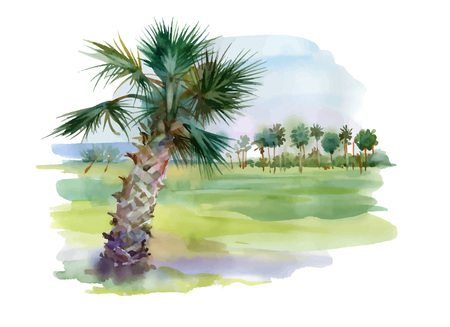 Watercolor palm alley illustration.