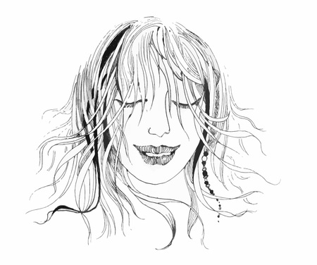 Portrait of a hand drawn woman with closed eyes on a white background.