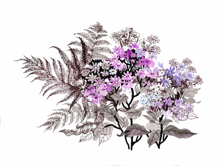 Hand drawn painting with colorful flowers and branches of fern on white background.