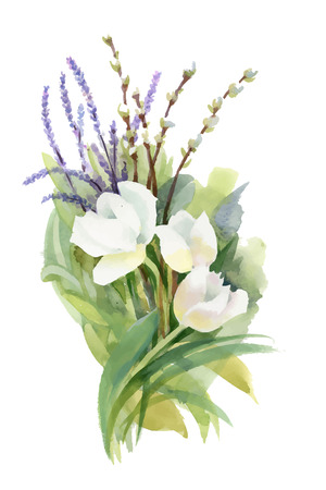 Hand drawn bouquet of flowers isolated on white background.