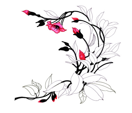 Hand drawn painting with colorful flowers on white background.