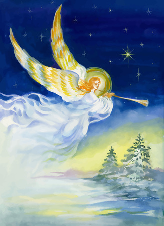 channeling: Merry Christmas and New Year Greeting card with beautiful angel with wings, watercolor illustration.
