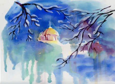 star field: Watercolor winter landscape with village church.
