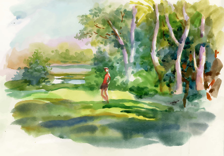 Watercolor summer rural landscape with trees at countryside.