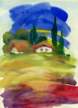Watercolor rural house in green summer day illustration.