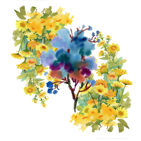 Watercolor floral composition. Clipping path included. Fast isolation. Hand painted.