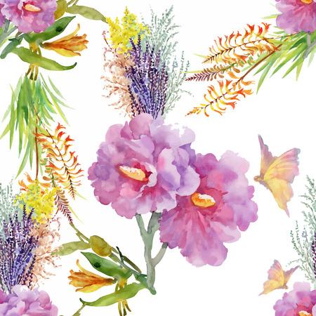 Teste padrão sem costura de aquarela com flores coloridas e folhas no fundo branco, padrão floral de aguarela, flores em cor pastel, azulejo para papel de parede, cartão ou tecido. Foto de archivo - 90579930