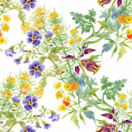 Watercolor seamless pattern with colorful flowers and leaves on white background, watercolor floral pattern, flowers in pastel color, tile for wallpaper, card or fabric. Vector illusrtation.