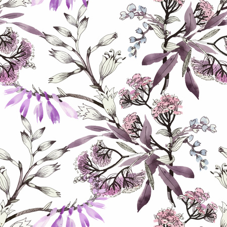 Watercolor seamless pattern with colorful flowers and leaves on white background, watercolor floral pattern, flowers in pastel color, tile for wallpaper, card or fabric.