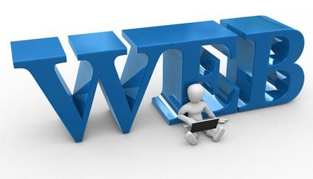 logo informatique: Peuple avec portable appuy� le mot web Banque d'images