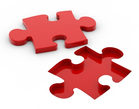compatible: Puzzle red Stock Photo