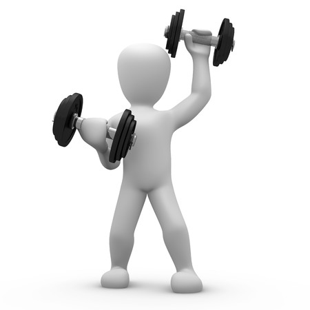man lifting weights: training
