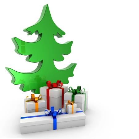 abstracto: Christmas tree and gifts