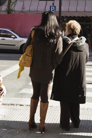 crossing street: pedestrians Stock Photo