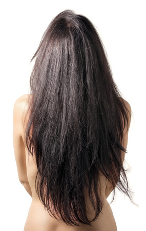Nude girl with long hair photo