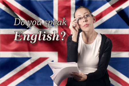drapeau anglais: Parlez-vous anglais Banque d'images
