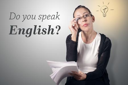 Sprechen Sie Englisch? Standard-Bild