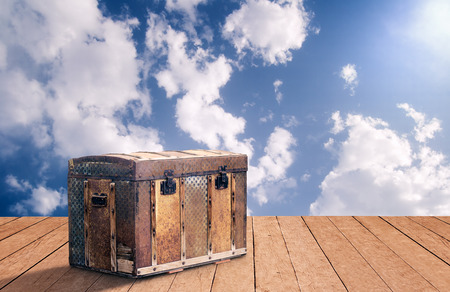 flooring: Old wooden box on flooring