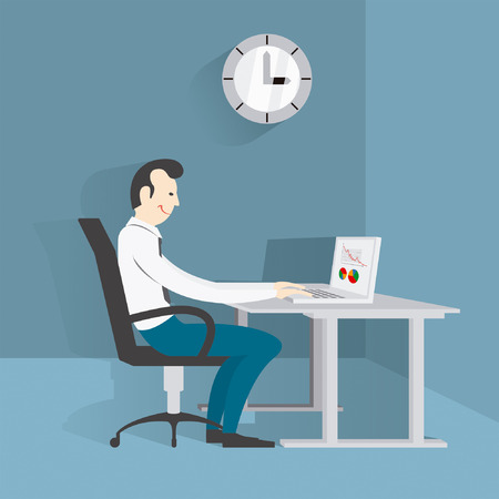 work  office: vector image, working in the office Illustration