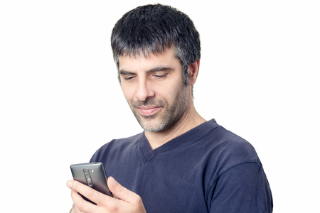 Middle-aged man with mobile phone