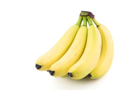 Pile of bananas on white background