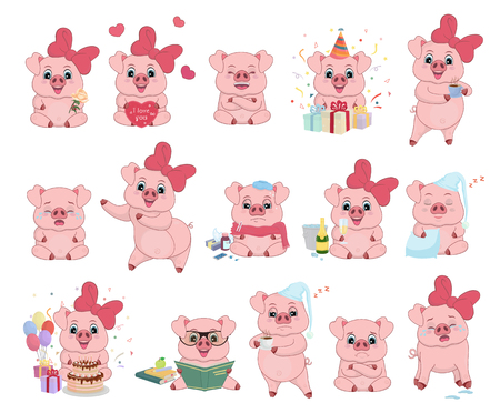 A set of funny and cute pigs in different poses and emotions in cartoon style. Vector illustration of holiday, happy, cheerful, sad, crying, unhappy, sick, cheerful, sleepy, pig with books-Vector
