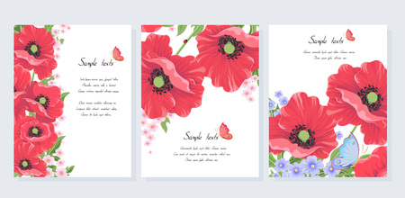 Collection of postcards with wild flowers on a white background. Red vector poppy flowers, butterfly, ladybug. Set of templates for invitation cards, wedding, banners, brochure cover design-Vector.