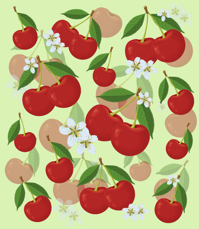Red cherry. Cherry pattern. Yellow background with cherries and flowers, watercolor vector illustration.