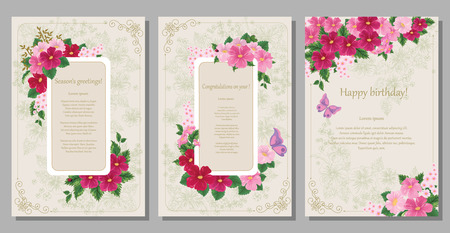 Greeting cards in the floral frames on a beige background with a graphic pattern.