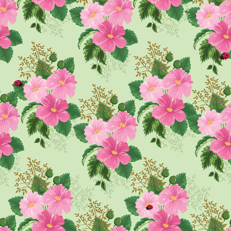 Floral background with patterns of wild roses with green foliage and ladybird. Floral background, floral pattern.