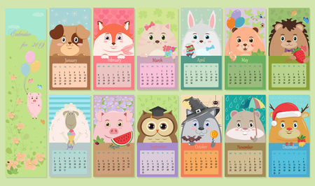 Vector children's calendar. The design of the calendar 2019. Cute cartoon character. Funny animals in different story compositions.