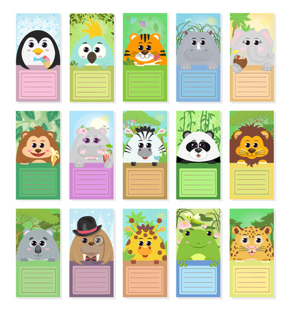 Set of labels for children with animals: penguin parrot tiger Rhino elephant monkey Hippo Zebra Panda lion Koala walrus giraffe toad leopard in different story compositions. Vector graphics.