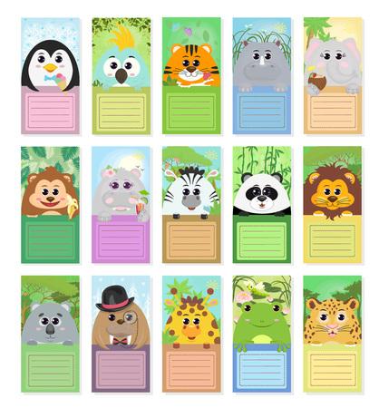 Zestaw etykiet dla dzieci ze zwierzętami: pingwin papuga tygrys nosorożec słoń małpa hipopotam zebra panda lew koala mors żyrafa ropucha lampart w różnych kompozycjach fabularnych. Grafika wektorowa.
