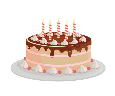Birthday cake with chocolate icing. Design elements isolated on white-vector. Ilustração Vetorial