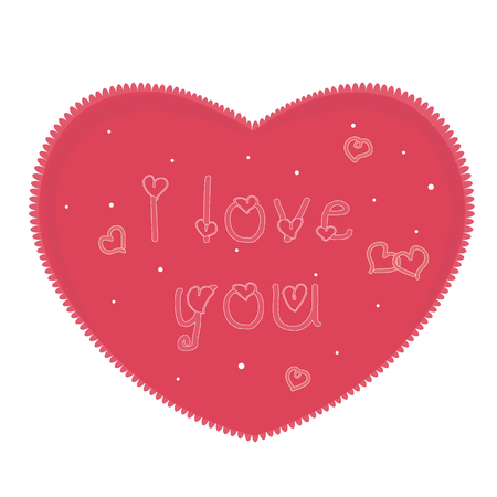 Vector illustration, heart with the inscription I love you. Template cards, banners or poster for Valentines Day, wedding anniversary or other celebrations. Vector design elements isolated on white.