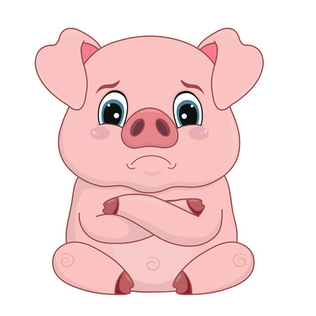 Vector illustration, cartoon pig with offended distressed face, emotion, design element isolated on white-vector