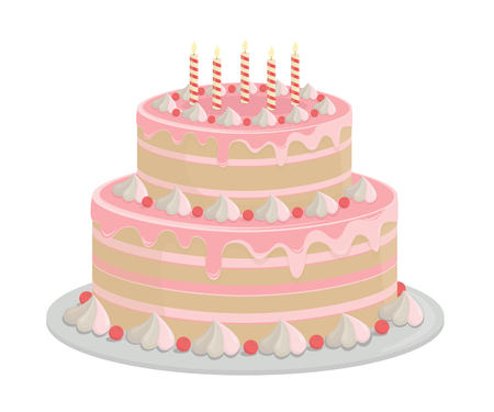 Birthday cake. Design elements isolated on white-vector. Ilustração Vetorial