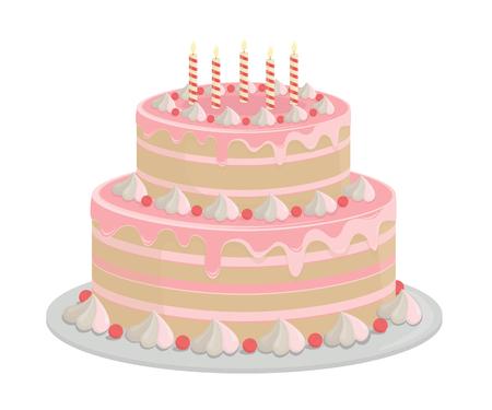 Pastel de cumpleaños. Elementos de diseño aislados en blanco-vector. Ilustración de vector