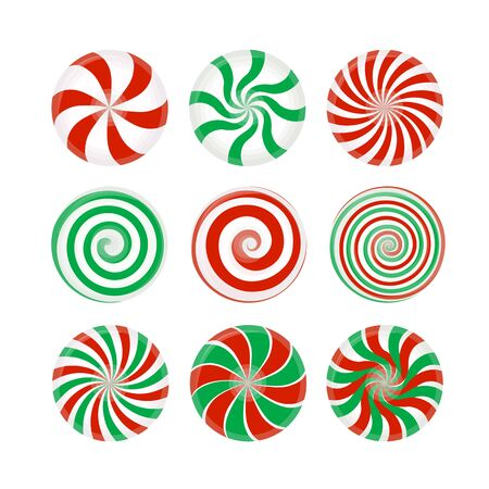 Set of red and green candies caramel, Lollipop. Striped candy unwrapped on a white background. Vector design element for Christmas, New year, winter holiday, dessert, new year's eve, food, etc