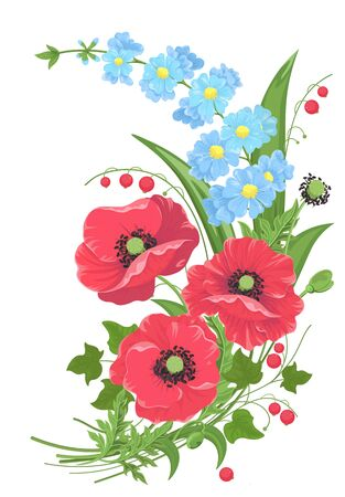 Bouquet of flowers, poppies and forget-me-nots, stems leaves and red berries isolated on white. Style of watercolor painting. Collection of wildflowers for invitation greeting card design, etc. Vector