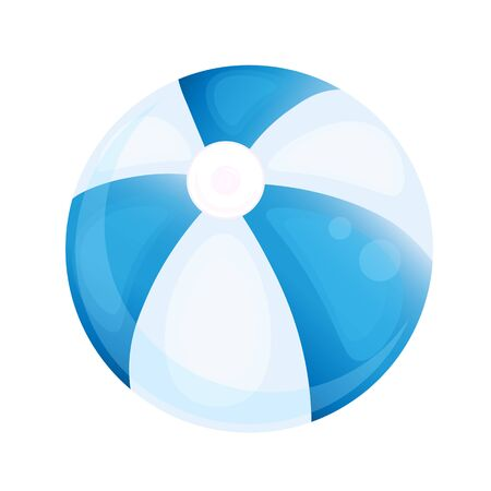 Realistic blue beach ball. Water Polo or volleyball ball isolated on white background - Vector illustration.  イラスト・ベクター素材