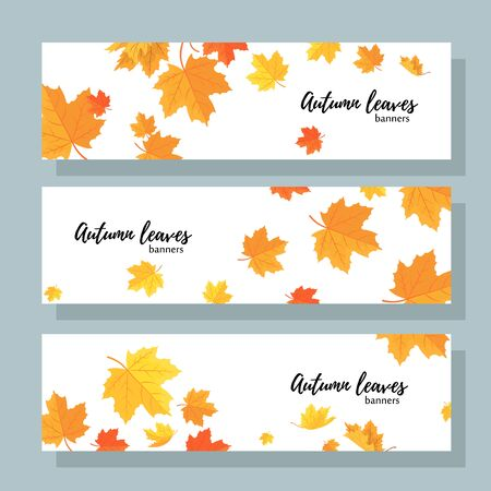 Set of three horizontal banners with autumn maple leaves. Collection of templates for autumn sales with text. Иллюстрация